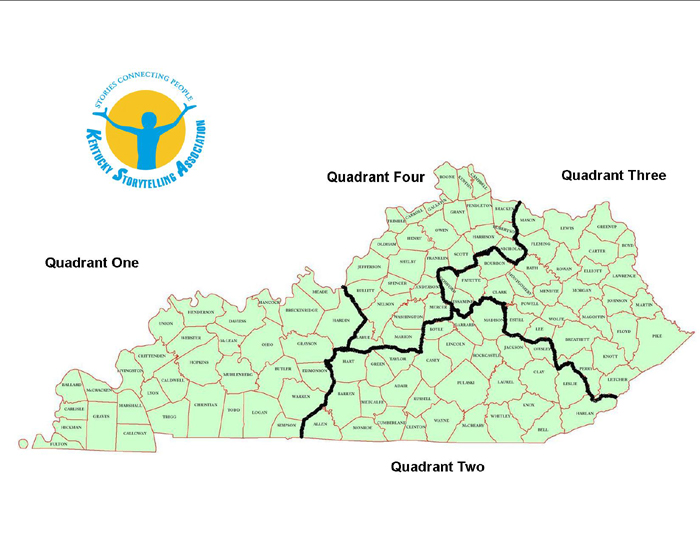 map of Kentucky with the KSA Quadrants delineated
